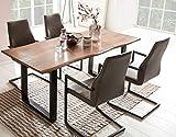 SalesFever Essgruppe Baumkanten-Tisch aus Akazie und Armlehnstühle Giada Tisch 160x85 cm + 4 dunkelbraune Stühle, Nussbaum/Schwarz
