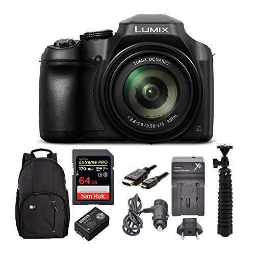 Panasonic LUMIX FZ80 4K Long Zoom Camera (18.1 Megapixels, 60X 20-1200mm Lens) Bundle with 64GB Card and Deluxe Accessories (7 Items)