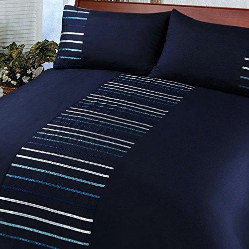 Just Contempo Parure de lit contemporaine en Polycoton avec Ruban en Satin Motif rayé, Polyester, Bleu Marine, Kingsize Bettbezug
