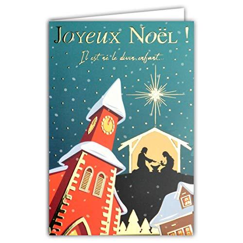 Biglietto di Buon Natale Il Divino Bambino 25 dicembre Chiesa Presepe Nascita Gesù Maria Giuseppe...