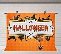 HDハロウィーンの装飾バナーの背景パンプキンランタンクモバット写真背景ハロウィーンパーティースタジオ小道具10x7ft BJQQFU177