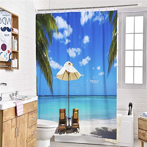 Chickwin douchegordijn voor badkamer met 12 haken, 3D digitaal creatief strand surfen afdrukken patroon wasbaar waterdicht polyester stof decor badgordijn