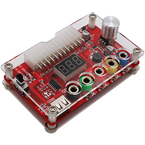 ATX Power Supply Breakout Board and Acrylic Case Kit with ADJ Adjustable Voltage Knob, Supports 3.3V, 5V, 12V and 1.8V-10.8V (ADJ) Output Voltage, 3A Maximum Output, Reset Protection. New Version