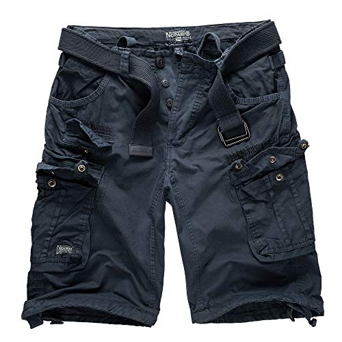 Geographical Norway Cargo Shorts Kurze Hose Bermuda mit Gürtel Short Hunter im Bundle mit UD Bandana (XXL, Navy)