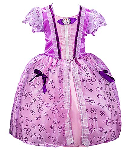 YOSICIL Niñas Vestido de Princesa Sofia niña Disfraz Deluxe de Princesa Sofia Princesa Clásico con Puff Manga Vestido de Fiesta Cumpleaños Boda Costume para Carnaval Navidad Regalo 100-150cm