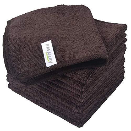KinHwa Mikrofasertücher Haushalts handtücher Super saugfähig Geschirrtücher Mehrzweck 30cm x 30cm (Braun, 10)
