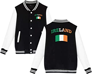 Vintage Irish Ireland Unisex Fashion Baseball Varsity Jacket Cotton Coat