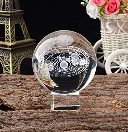 Bola de cristal con sistema solar 3D (60 mm) con soporte de cristal, modelo cósmico claro