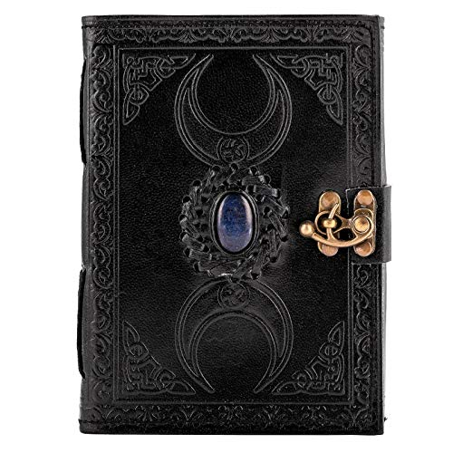 Urban Leather Black Book - 3 Moon Celtic Handmade Leather Journal - Writing Notebook Drawing Sketchbook Scrapbook Personal Organizer Daily Diary, Unlined, 5x7 inches