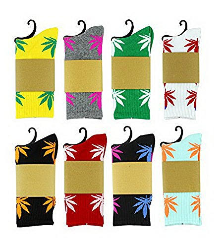 3 Pairs Marijuana Weed Leaf Warm Cotton High Sport Socks One Size (One Size, 1-3)