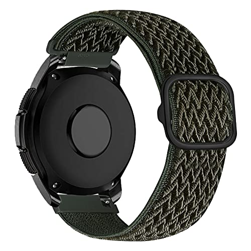 iBazal Correa Galaxy Watch 3 41mm Nylon 20mm Band Trenzada Compatible con Samsung Galaxy Watch Active2 40mm 44mm/Galaxy Watch 42mm Reemplazo para Huawei GT 2 42mm/GTR 42mm/GTS Pulsera Band - Verde