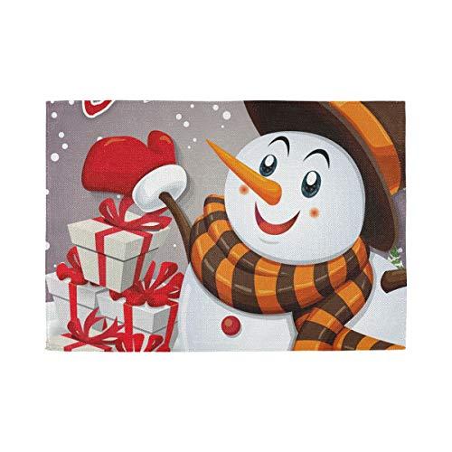 XiangHeFu Maison Set de Table Non Glissement Résistant À La Chaleur Joyeux Noël Bonhomme De Neige Cadeau Tapis De Table 12x18inx6 Polyester Facile à Nettoyer
