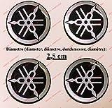 Kit de 4 adhesivos resinados con el emblema/logotipo de Yamaha con efecto 3DColor: negro + plateado.Para depósito o casco.
