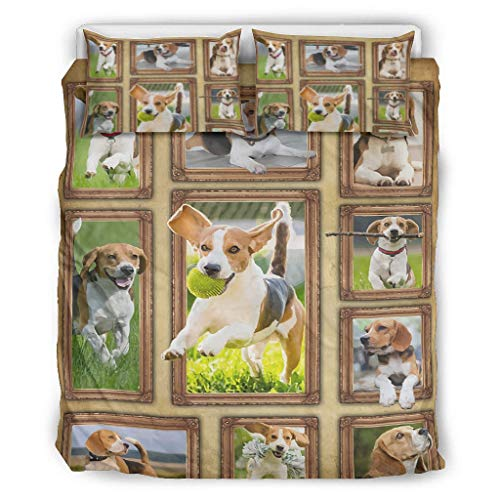 Banniyouall Beagle Ultra Soft And Comfortable Comforter Sets Lightweight 1 Duvet Cover+2 Pillow Shams white 66x90 inch