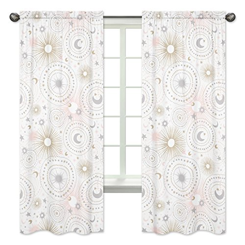 Blush Pink, Gold, Grey and White Star and Moon Window Treatment Panels Curtains for Celestial Collection by Sweet Jojo Designs - Set of 2