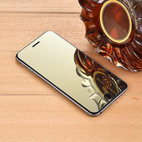 Cubierta de vidrio templado con espejo colorido para iPhone 12 11 Pro X XS Max XR 6 6S 7 8 Plus SE 12 12mini Película protectora de pantalla endurecida, Dorado, Para iPhone 8Plus