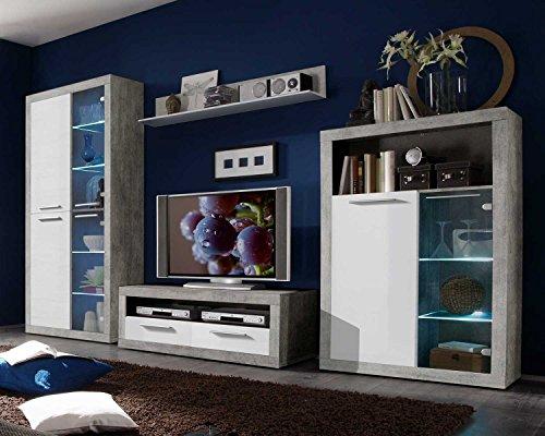 Wohnwand Anbauwand Wohnzimmerschrank 4-tlg. | Dekor | Betonoptik | Weiß Hochglanz | LED-Beleuchtung