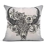 Dekokissen Cow Indian Bull Skull in Tattoo Stammes-Blumen Rosen und Blätter Animal Skeleton Linen...