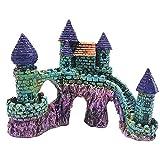 DELITLS Decoración del castillo del acuario, cuento de hadas acuario resina castillo decoración pecera para reptiles resina pecera castillo cueva escondites