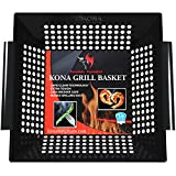 Kona Best Vegetable Grill Basket - Safe/Clean Porcelain Enameled BBQ Grilling Basket (Large 12x12x3 inches) for Veggies, Kabobs, Seafood, Meats