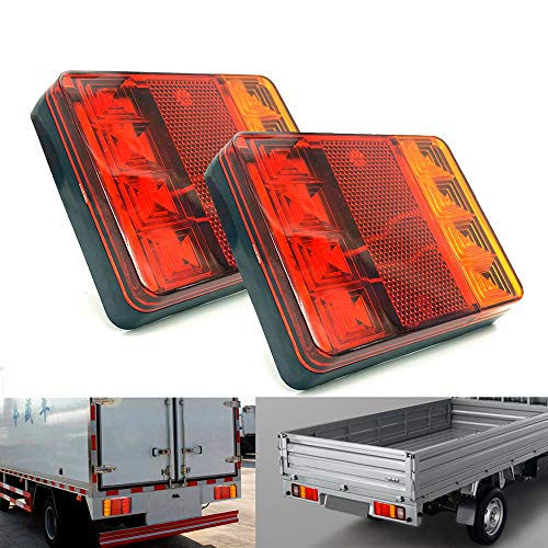 PolarLander 2PCS Imperméable 8 LED Feux arrière Rouge Jaune arrière arrière DC 12V pour Camion de remorque Bateau de Voiture Styling Avertissement