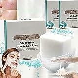Silk Protein Skin Repair Soap, Jabón Con Esencia De Proteína De Seda, Jabón Limpiador Con Control De Aceite Cepillado Súper Largo, Reparación Hidratante Para El Acné, Jabón Aclarador (2 piezas)