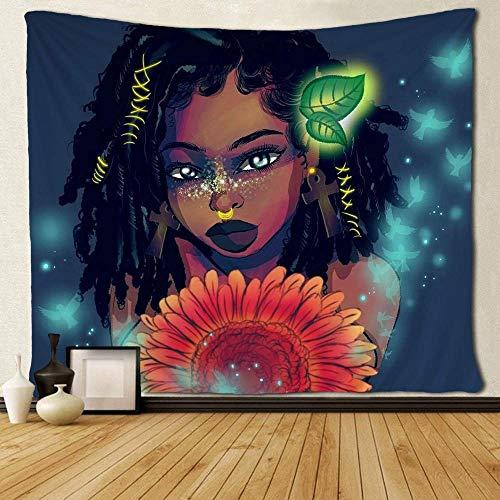 Black Girl Afircan Girl Pendientes de cruz americana Love Tapices de girasol 150x180cm