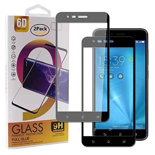 Guran [2 Paquete Protector de Pantalla para ASUS Zenfone 3 Zoom S ZE553KL Smartphone Cobertura Completa Protección 9H Dureza Alta Definicion Vidrio Templado Película - Negro