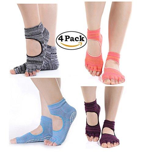 4pares algodón Yoga Calcetines Mujer Antideslizante Calcetines de cinco dedos para Estos Deportes, como Yoga, fitness, pilates, artes marciales, danza, gimnasia, 4 colores, talla única