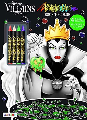 Disney Villains Black Paper Coloring & Activity Book with Crayons Bendon 43249, Multicolor