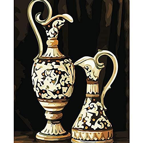 Schilderset met kwasten en acryl pigment doe-het-zelf canvas schilderij voor volwassenen, vintage vaas (40 x 50 cm) zonder frame.