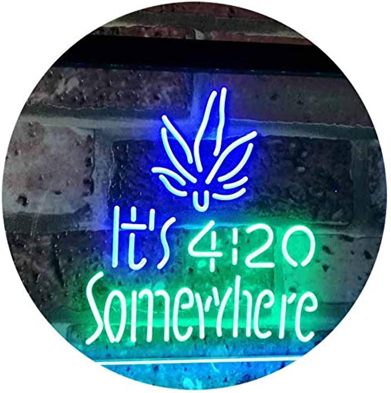 ADVPRO Marijuana It's 4 20 Somewhere Weed High Life Dual Farbe LED Barlicht Neonlicht Lichtwerbung Neon Sign Grün & Blau 400mm x 300mm st6s43-0404-gb