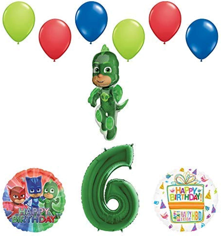 Mayflower Products PJ Masks Gekko 6th Birthday Party Supplies Balloon Bouquet Decorations