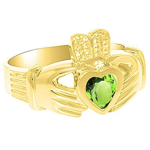Unisex masculino o femenino simulado Peridot anillo Claddah amor, lealtad y amistad anillo plata de ley o chapado en oro amarillo