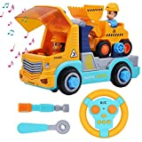 STEM Remote Control Take Apart Construction Truck with Built-in Lights and Sounds and Electric Drill for Kids Assembly Vehicle Toy RC City Car Collection
