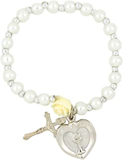 Needzo First Communion Bracelet with Heart Shaped IHS Medal Charm, 5 Inch
