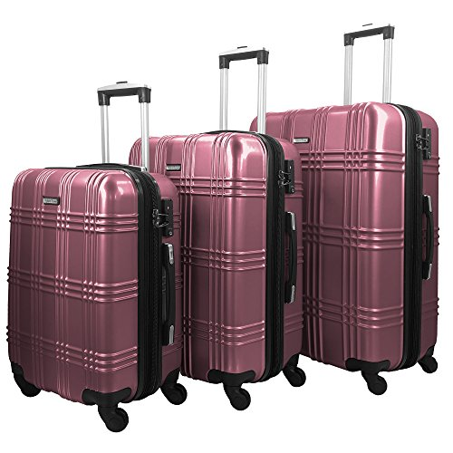 HyBrid & Company Luggage Set Durable Lightweight Spinner Suitcase LUG3-GL8109, 3 Pieces, Pink