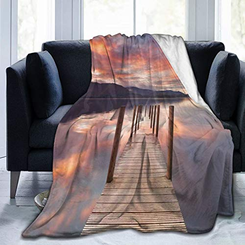 FULIYA Flannel Blanket Lightweight Super Soft,A Flooded Jetty In Derwent Water Lake District England Sunset Morning Photo,Blanket with Soft Anti-Pilling Flannel for Adults & Kids 3D Print 80'x60'