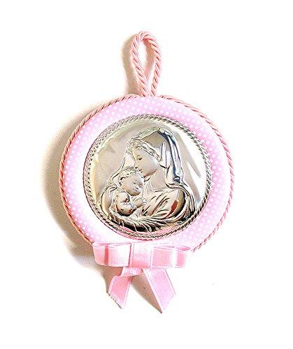 2R Argenti - Medalla para cuna con Virgen y Niño Jesús, de plata bilaminada