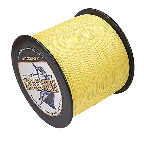 HERCULES Super Cast 300M 328 Yards Braided Fishing Line 30 LB Test for Saltwater Freshwater PE Braid Fish Lines Superline 8 Strands - Yellow, 30LB (13.6KG), 0.28MM