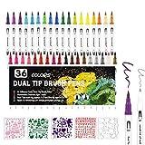 rotuladores Dual Brush Pen, 36 colores, doble fibra, tinta a base de agua, para acuarela Watercolo Bullet Journal Handlettering caligrafía manga