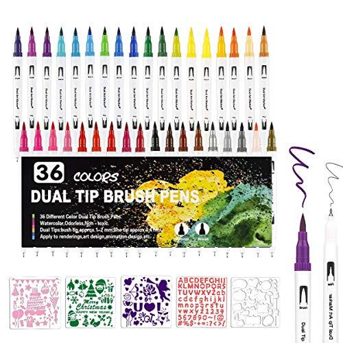 Dual Brush Pen Set, 36 Farben Doppelfasermaler mit 5Schablonen, Tinte auf Wasserbasis Doppelfilzstifte Für Aquarell Watercolo Bullet Journal Handlettering Kalligraphie Manga