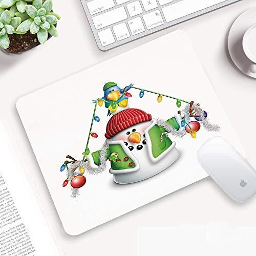 Alfombrilla Ratón 320x250 mm,Muñeco de nieve, personaje caprichoso de dibujos animados con guirnalda ,Antideslizante e Alfombrilla goma Impermeable Ideal para Portátil, Teclado, Gaming Hogar y Oficina