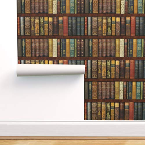 Spoonflower Pre-Pasted Removable Wallpaper, Bookcase Photographic Victorian Old World Books Literary...