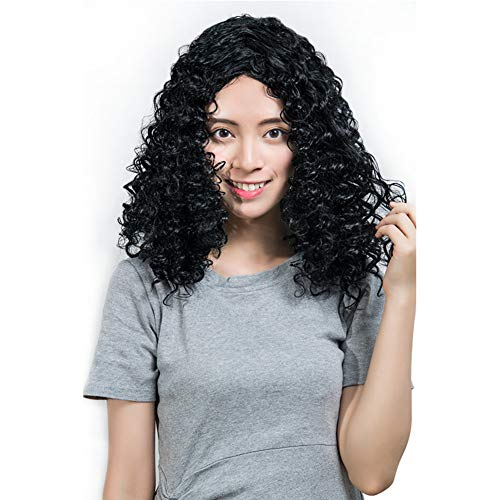 HAIRCARE Perruques Curly Kinky Courtes,Fluffy Wavy Black Synthetic Hair Wig Natural Looking Wigs Heat Resistant Wigs