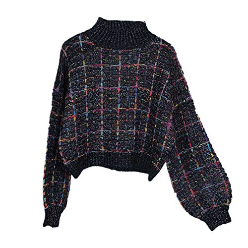 Otoño Invierno Cuadros Suéter De Las Mujeres Perezoso Viento Corto Suelto Casual A Cuadros Suéter Linterna Manga Pullovers Niñas