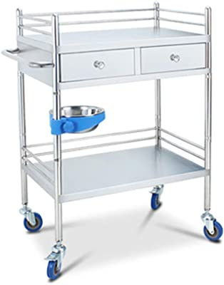 Vvlo Work Home Cart Tool 2 Tier Work Home Trolley Drawer & Dirt Bucket 150 kg Capacity Beauty Rolling Trolley Mobile Stainless Steel Dressing Trolley (Size : L80×48×86cm)