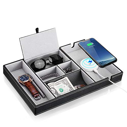 Baoyun Mens Valet Tray Organizer: 6 Compartments Leather Dresser Valet Organizer for Key Wallet Phone with Charging Station Large Mens Nightstand Organizer Tray (Black)