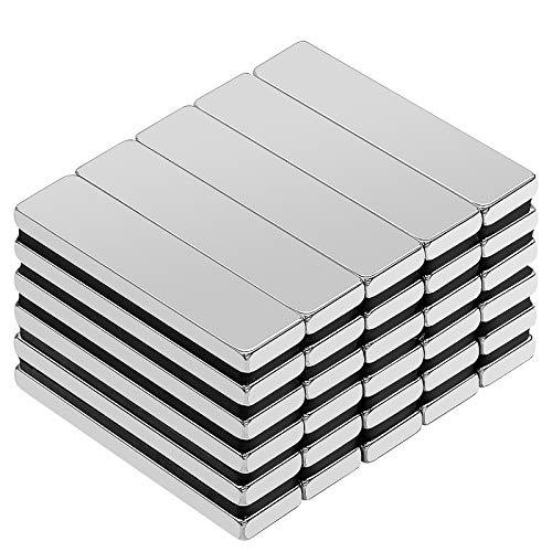 Neodym Magnete, 30 Stück Viereckig Ziegel Magnete, 40x10x3 mm N52 Super Stark Seltenerdmagnete, Rare Earth Permanentmagnet für DIY Building Craft Office
