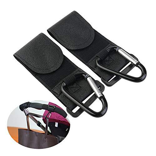 OUKEN - 2 ganchos para cochecito de bebé, clips con correas extraíbles, para cochecito extragrande, para colgar bolso de pañales, bolso de mano, bolsas de la compra, color negro
